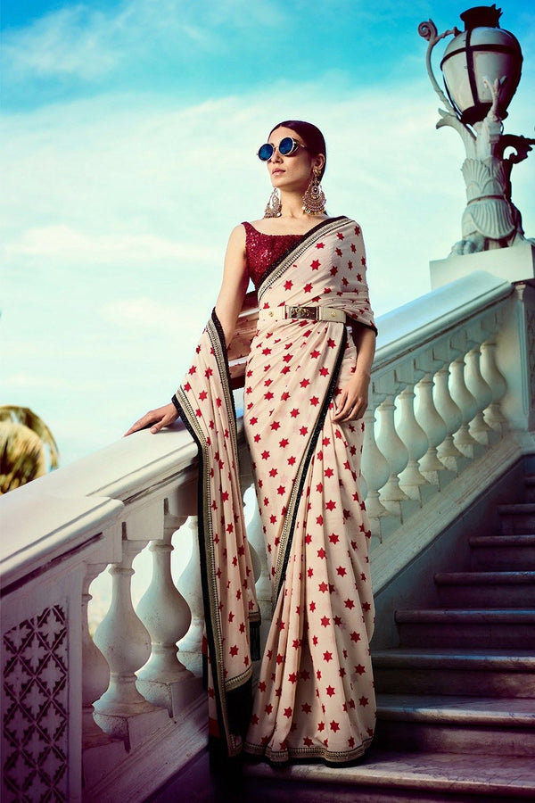 Ivory Print Star Georgette Saree