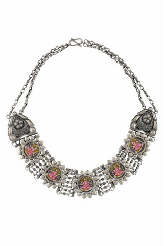 Silver Oxidised Lakshmi Flower Frame Interlinked Necklace