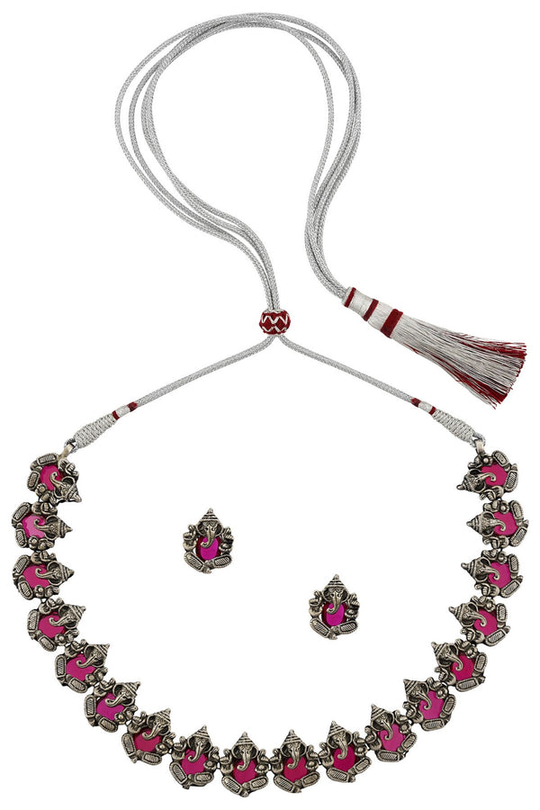 Silver Pink Glass Ganpati Necklace Earrings Set