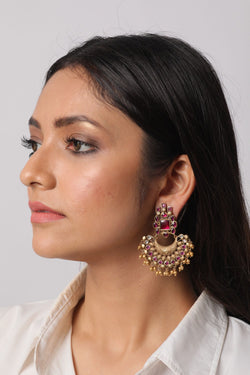Silver Gold Plated Glass Stone Earrings