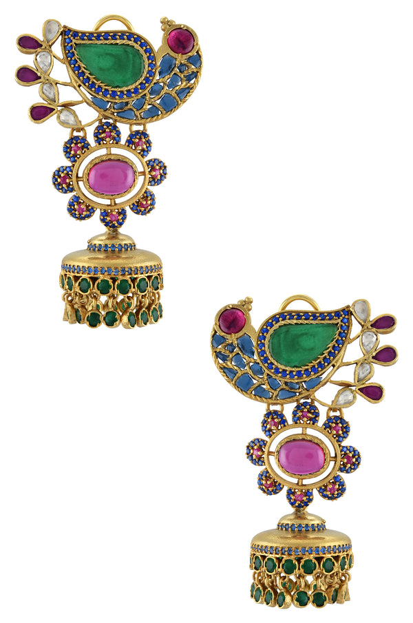 Silver Gold Plated Atilya Colorful Peacock Jhumki Earrings