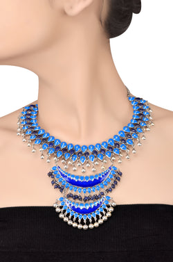 Silver Multi Pear Lapis Enamelled Crescent Ball Drop Necklace