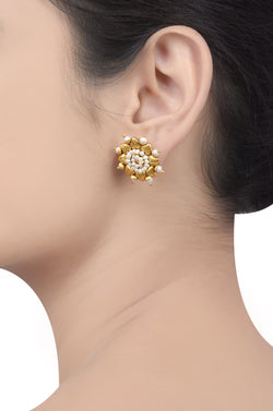 Silver Gold Plated Pearl Flower Ear Studs
