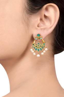 Silver Gold Plated Oval Turquoise Pearl Droplet Earrings
