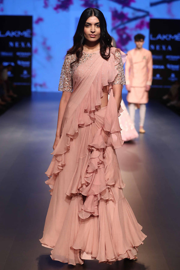 Blush Pink Chiffon with Cutdana Work Ruffle Saree Set