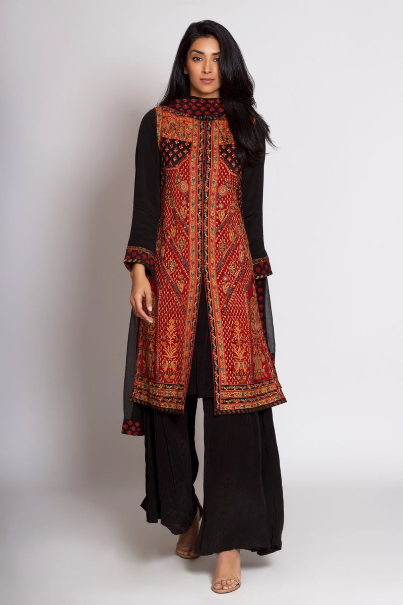 Black Kashida Jacket Kurta Dress Set