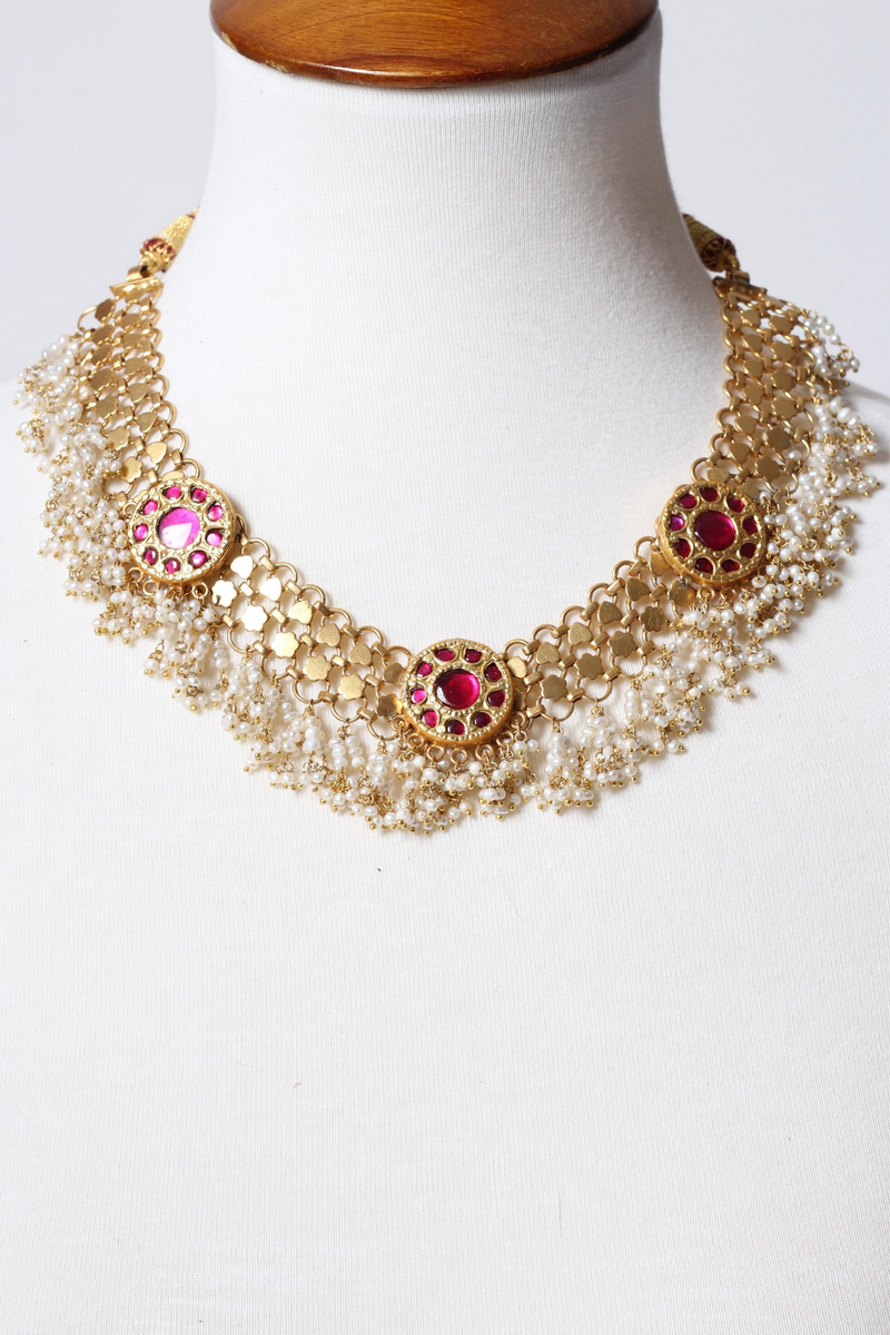 Silver Gold Plated Heena Necklace