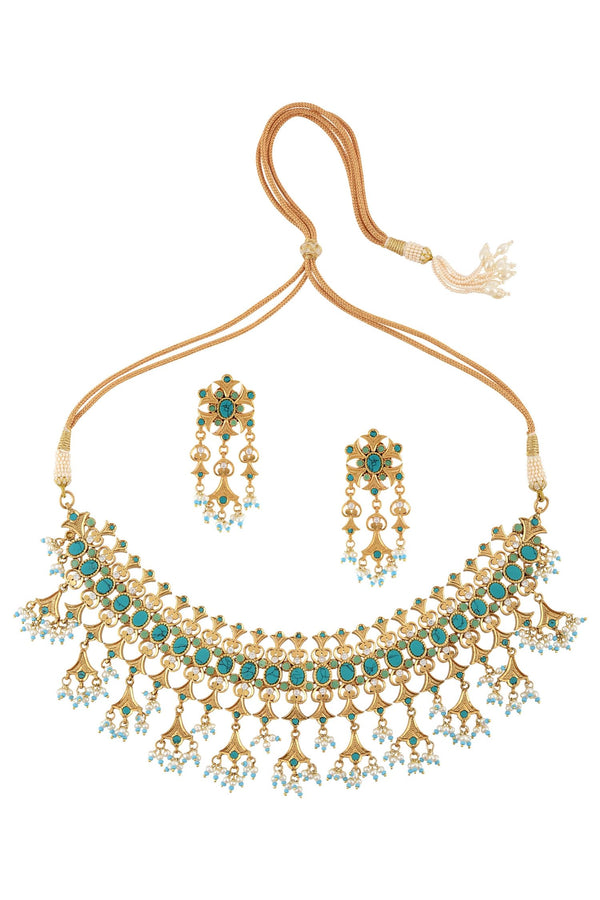 Silver Gold Plated Apsara Turquoise Victorian Motif Set