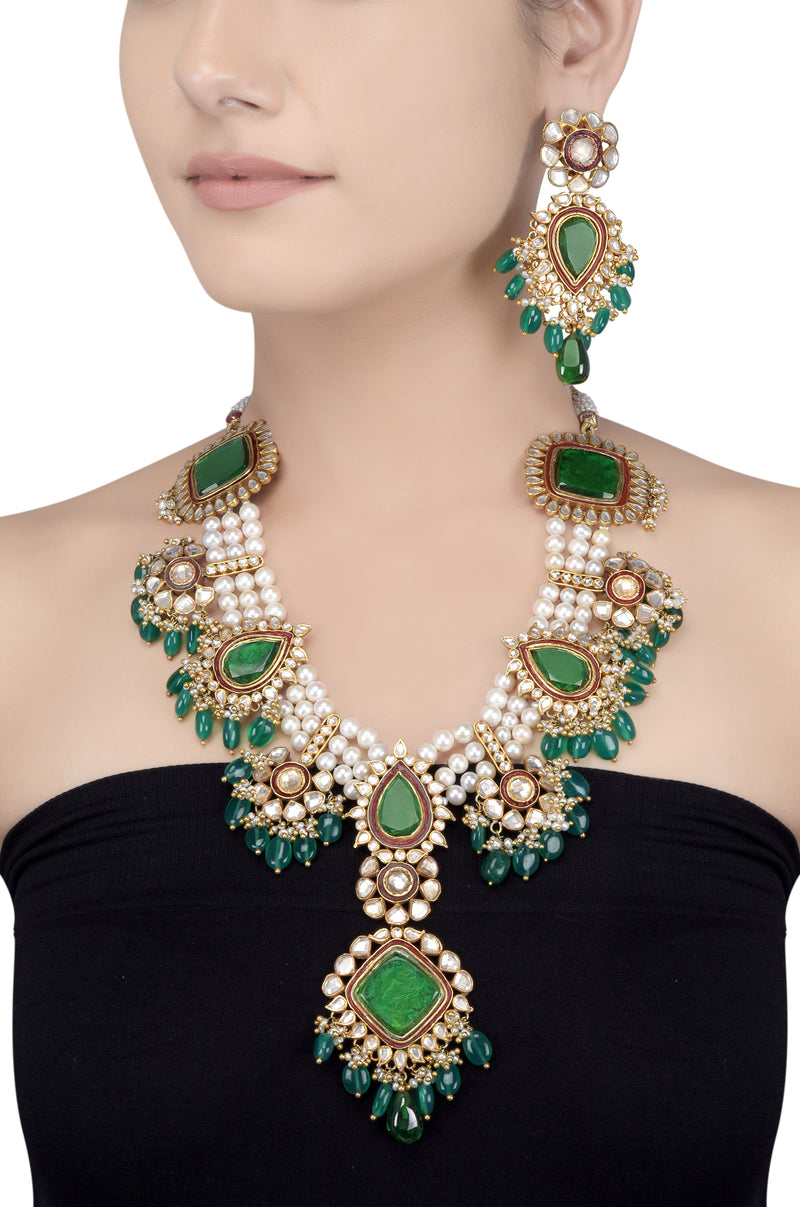 Silver Gold Plated Multi Motif Green Glass Pearl Statement Necklace Set