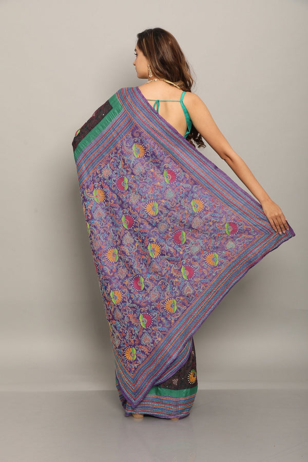 Black and Purple Tussar Kantha Saree