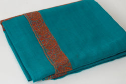 Blue Wool Shawl with Kashmiri Border