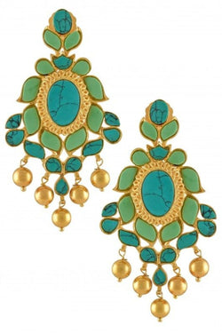 Silver Gold Plated Leafy Turquoise Ball Drop Earrings