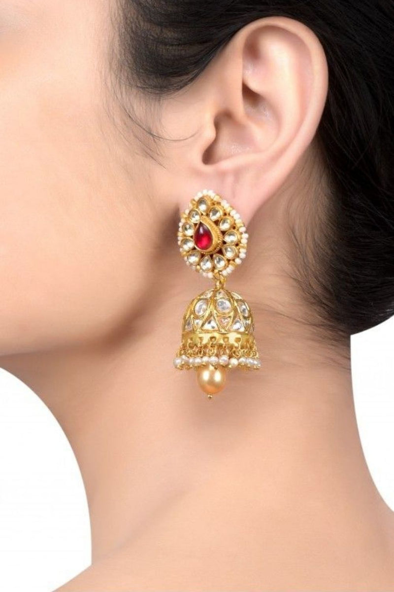 Silver Gold Plated Crystal Studded Pearl Pear Drop Jhumki Earrings