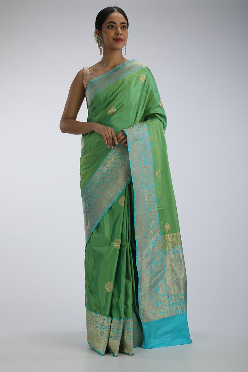 Green karwa benarasi silk saree