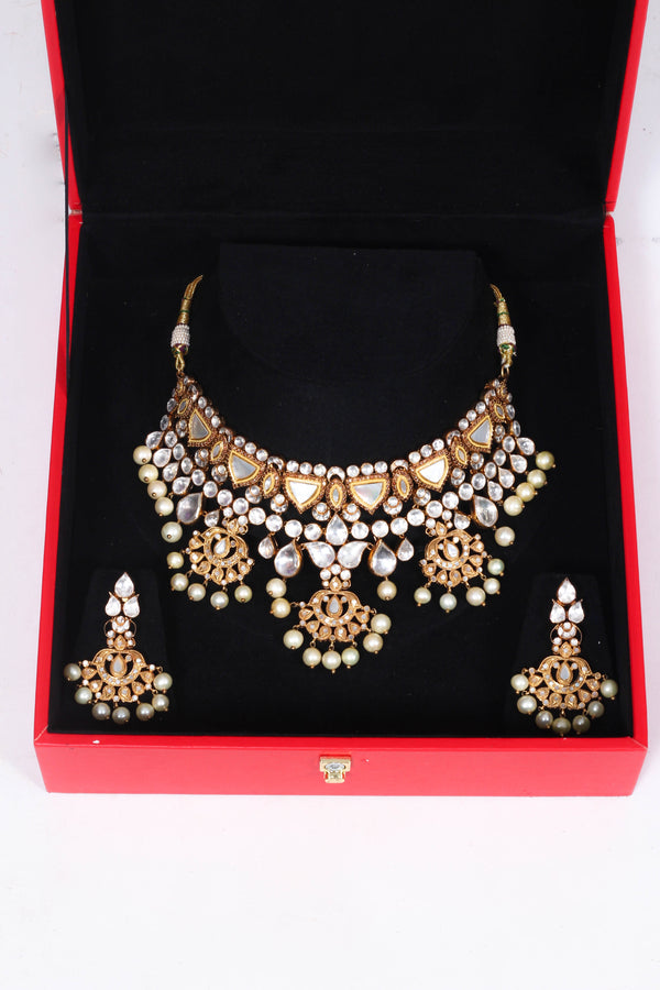 Silver Gold Plated Set with Semi Precious Stones