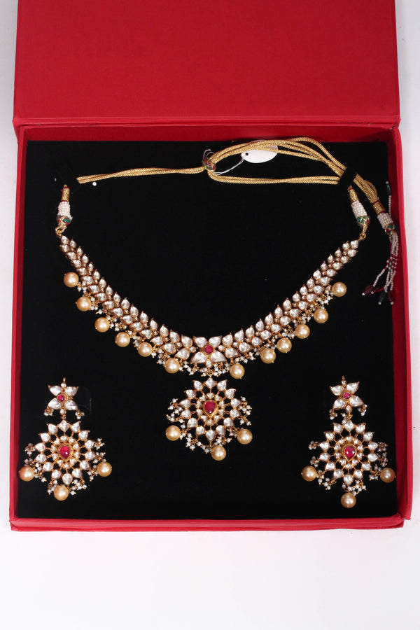 Silver gold plated crystal set with red stones