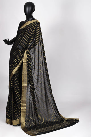 Black benarasi georgette saree