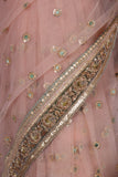 Rose gold tulle saree