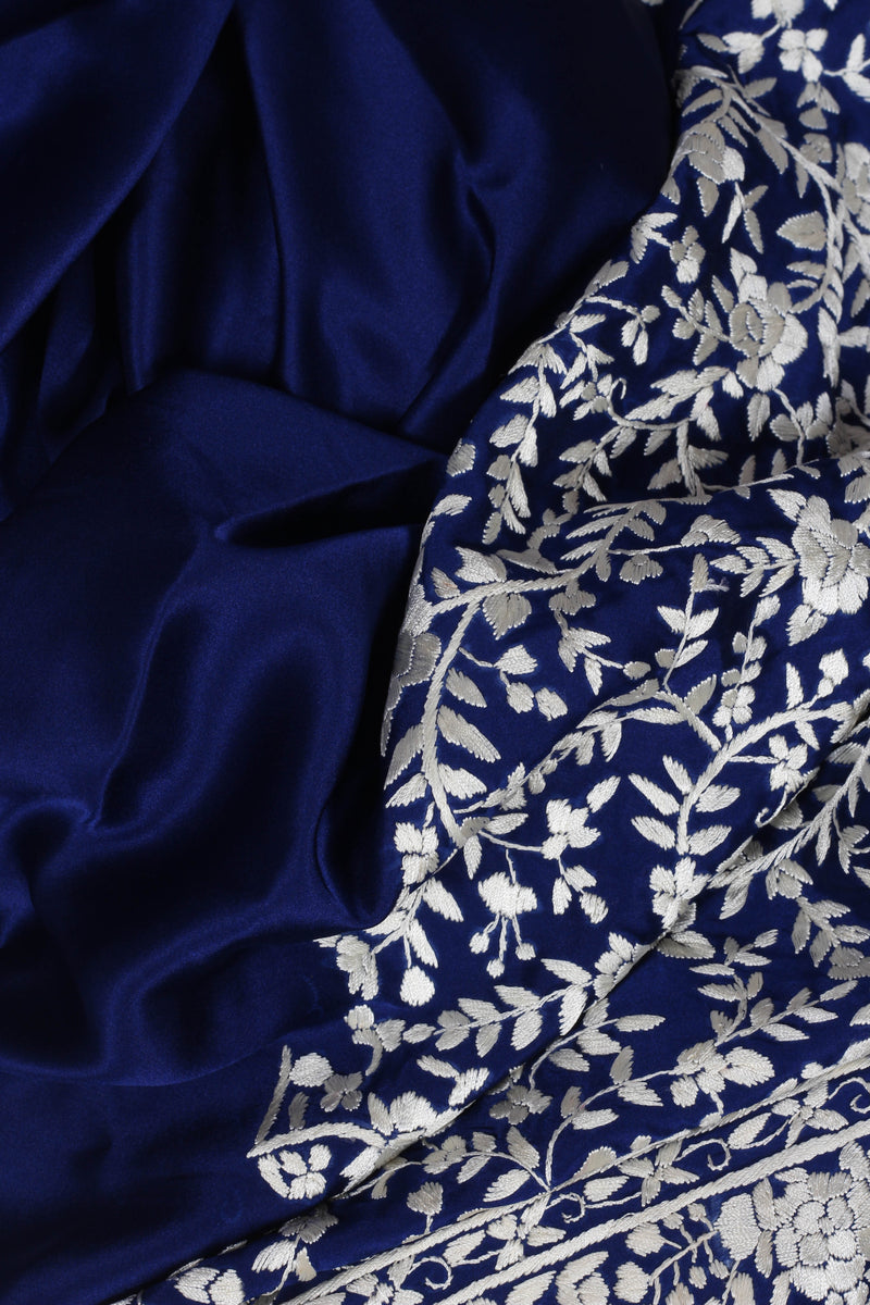 Blue Satin Silk Parsi Saree
