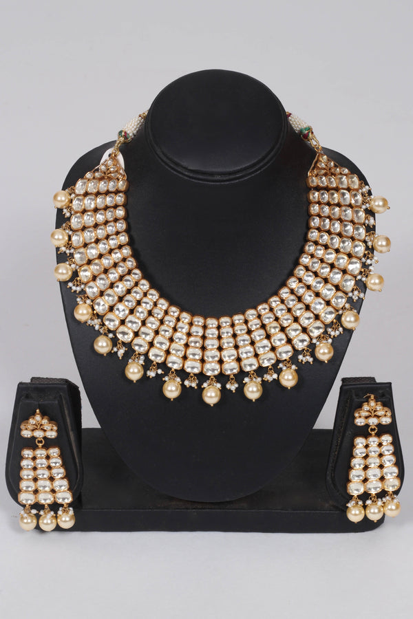Silver Gold Plated Crystal Studded Pearl Necklace