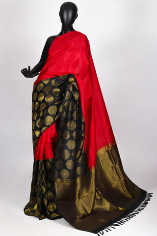 Black and red kanjiveram saree
