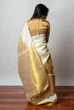 Ivory and Gold Kanjiveram Saree