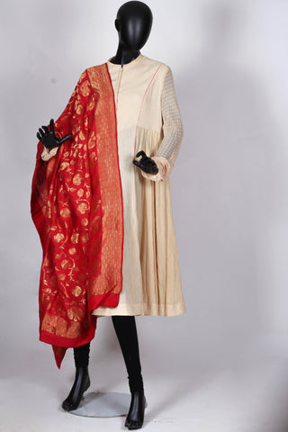 Red Benarasi georgette dupatta