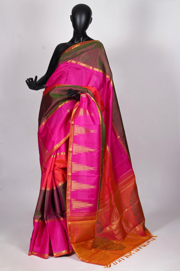 Multicolor soft silk kanjiveram saree