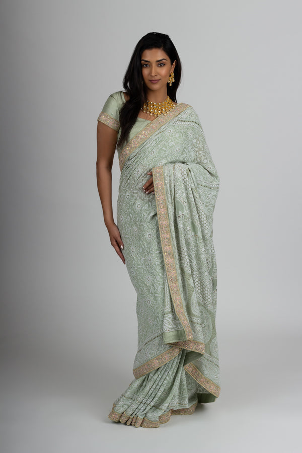 Mint Chikankari Saree
