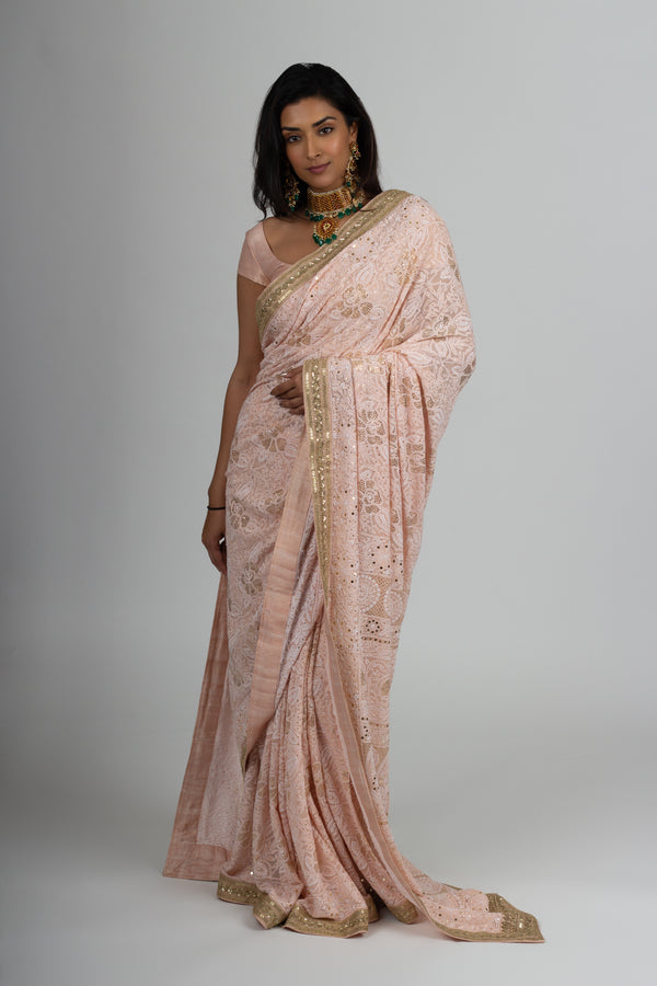 Blush Pink Chikankari Saree