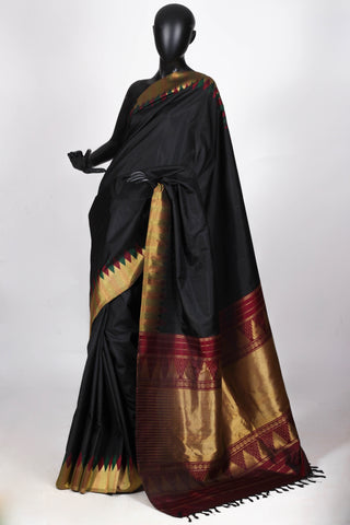 Black and gold kanjiveram saree
