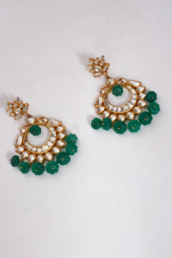 Silver Gold Plated Crystal Green Glass Chaandbali Flower Earrings