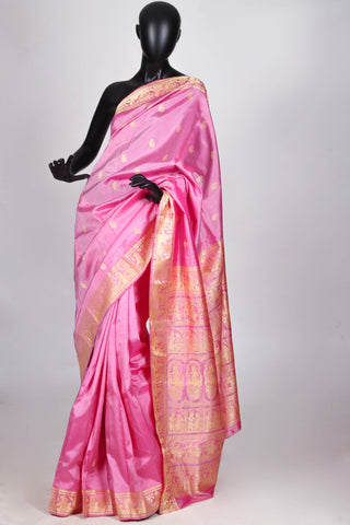 Pink baluchari silk saree