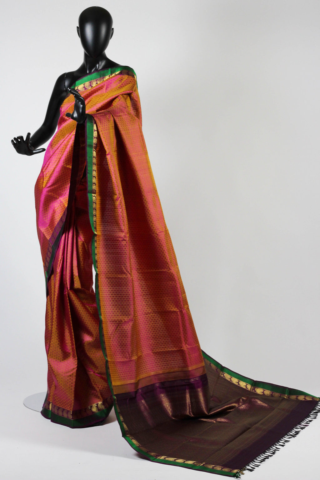 Short Color Mustard and Pink Kanchipuram saree