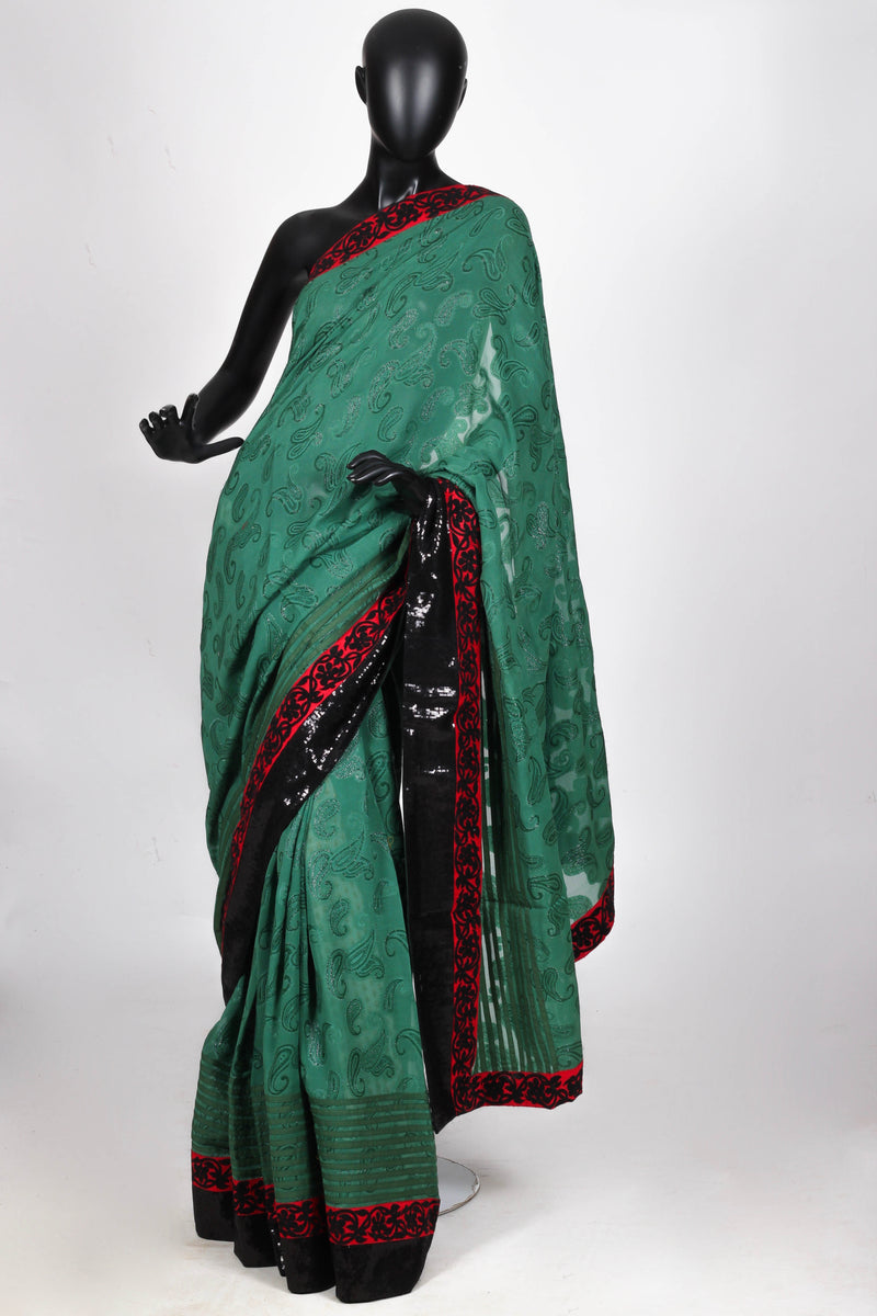 Green crepe georgette saree