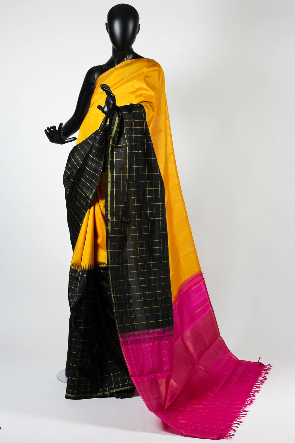 Yellow kanchipuram saree with multicolor border and palu