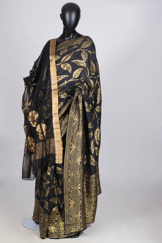 Black muga silk saree