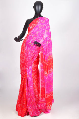 Shaded pink and red chiffon saree