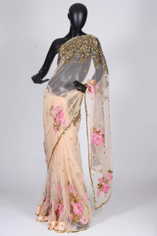 Bhairavi Jaikishan light peach tulle saree