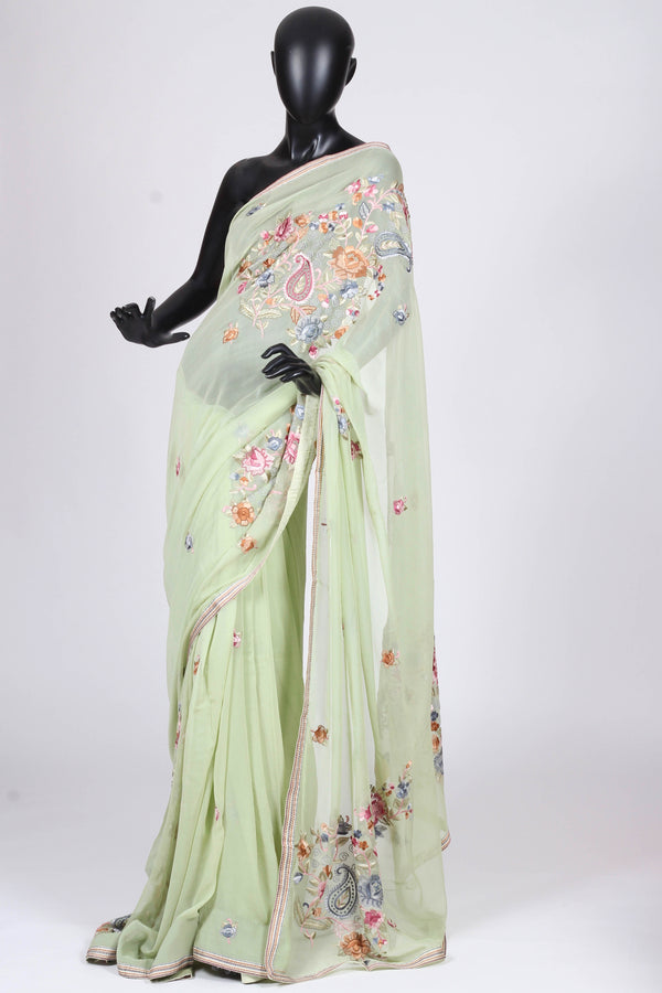 Pista green crepe saree with hand thread embroidery