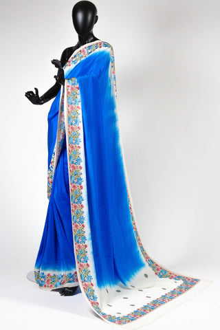 Blue Crepe Saree with Parsi Embroidery