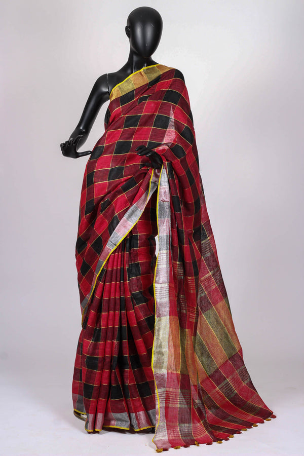 Black and red check Linen Saree