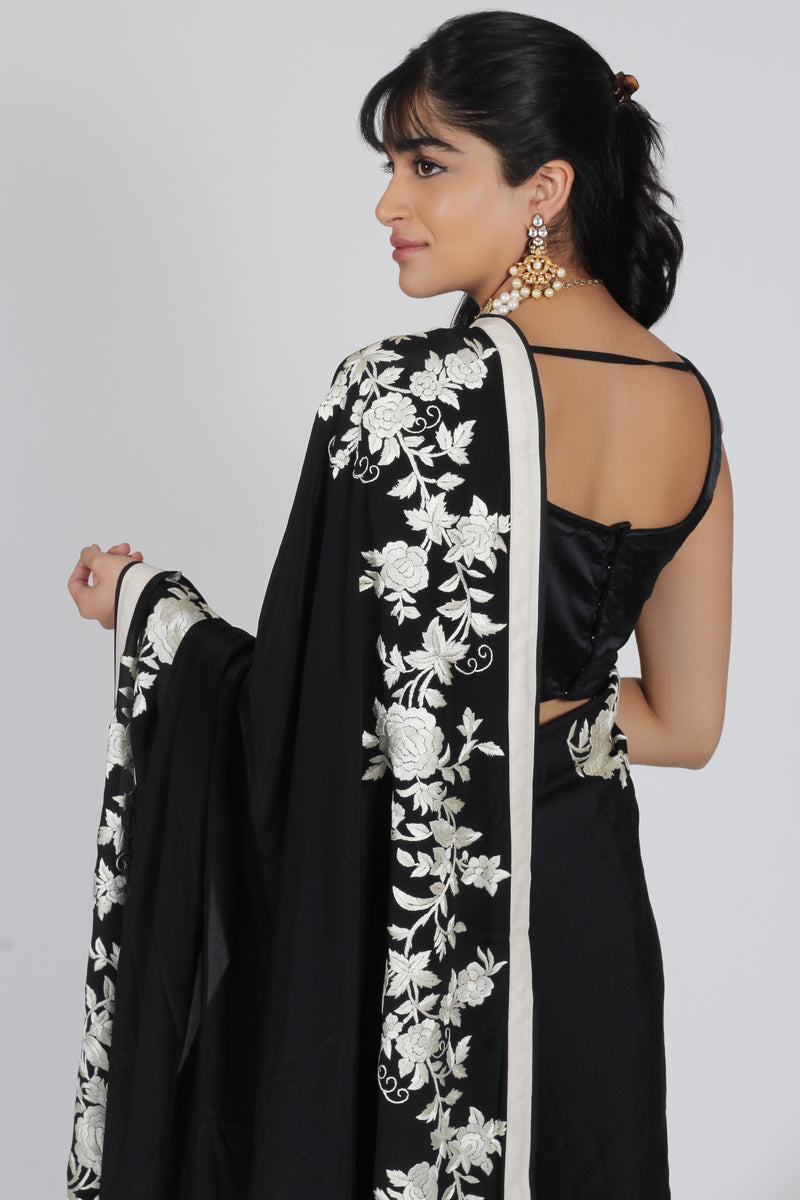 Black Crepe Georgette Gara Parsi saree