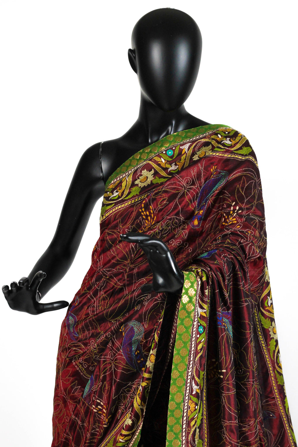 Maroon all over kantha saree