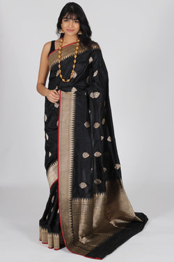 Black benarasi saree