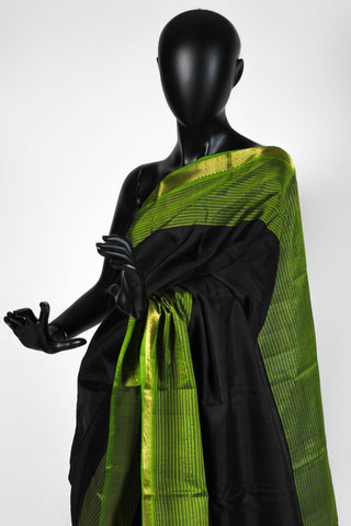 Black and Green Kanjiveram Saree