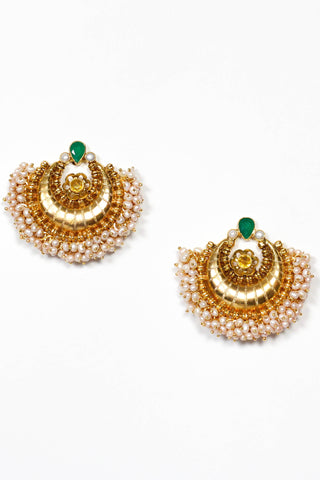 Amrapali Gold Crescent Earrings