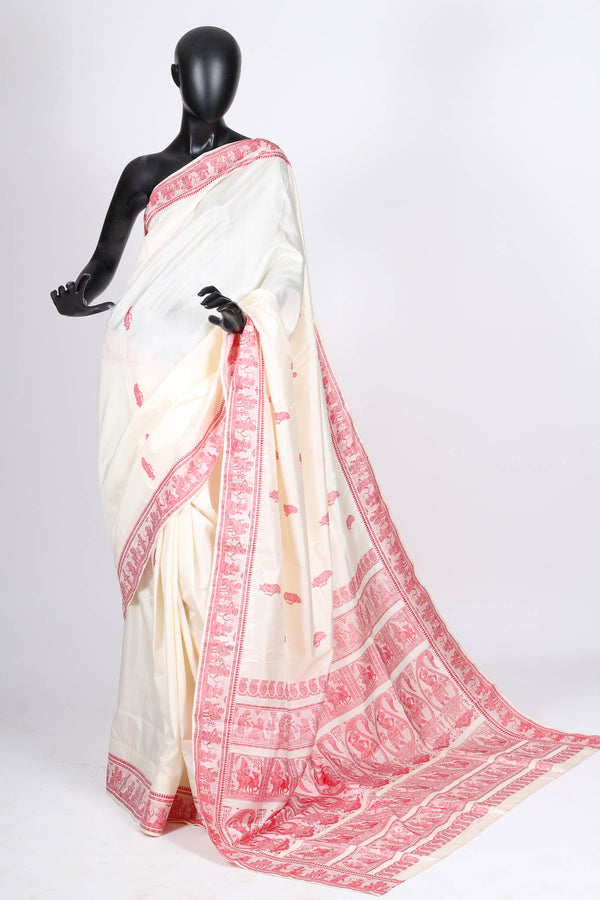White and Red Baluchari Saree