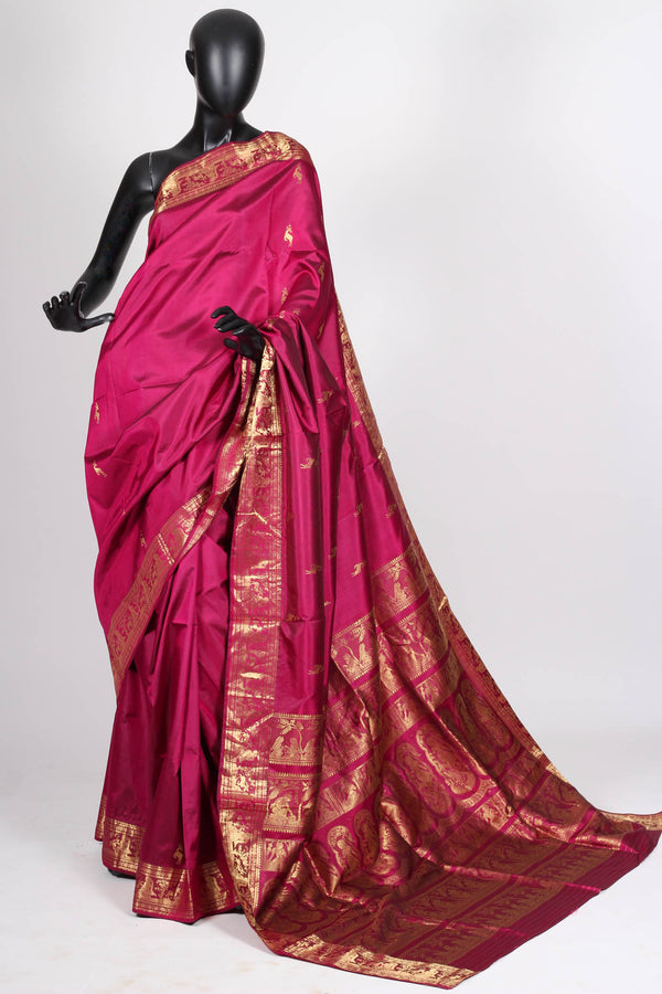 Dark Pink Baluchari Saree