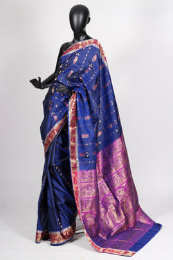Blue baluchari saree